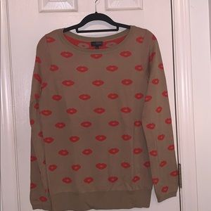 Camel color kisses long sleeve sweater